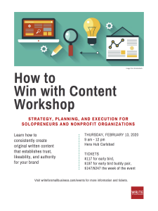 how to win with content workshop flyer