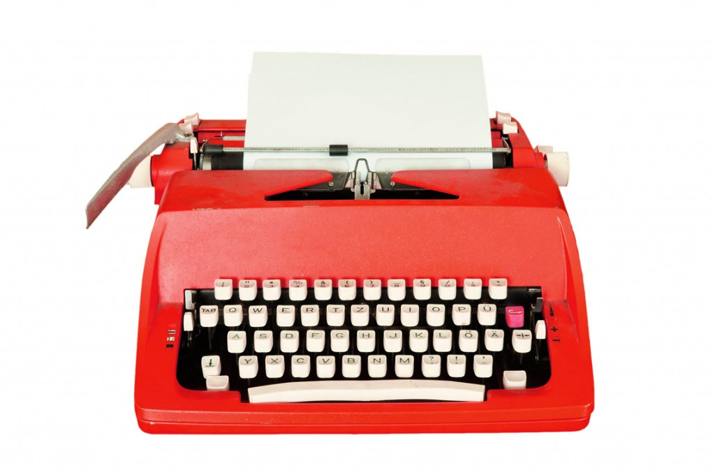 red typewriter writes great web content